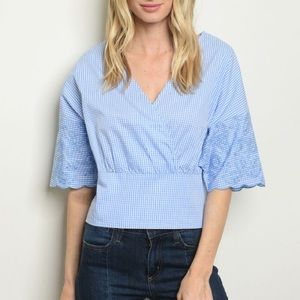 Tops - Gingham Check V-neck Cropped Top